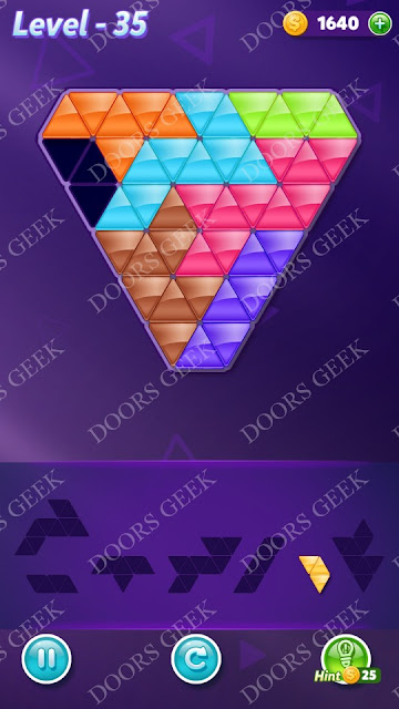 Block! Triangle Puzzle Advanced Level 35 Solution, Cheats, Walkthrough for Android, iPhone, iPad and iPod