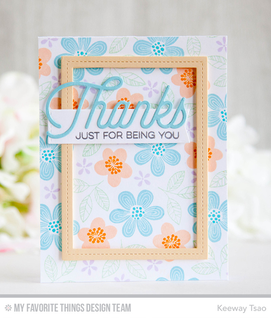 Handmade card from Keeway Tsao featuring Bold Blooms and Kind Thanks stamp sets, Twice the Thanks and Single Stitch Line Rectangle Frames Die-namics #mftstamps