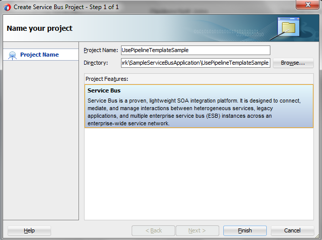 OSB 12c Use Pipeline Template Create Project