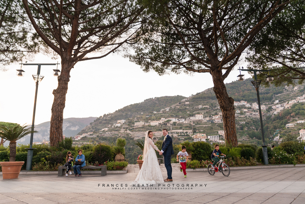Bride and groom in Ravello square