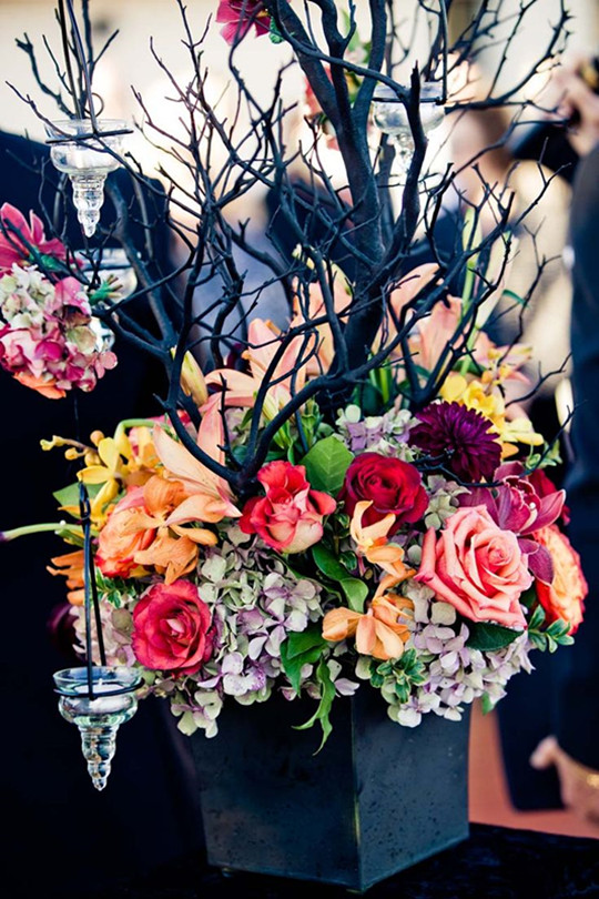 Classic Halloween Wedding flowers Tamara Jason fall
