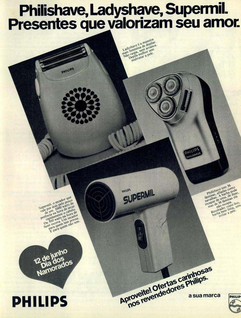 Propaganda da Philips promovendo a linha de produtos para o dia dos namorados no começo dos anos 80