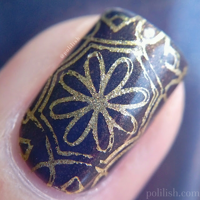Floral geometric nail art with Born Pretty Store stamping plate | polilish