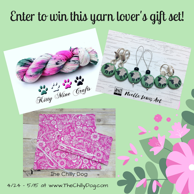 Enter to win a Yarn Lover's Gift Set including Indie dyed yarn from Kitty Mine Crafts, stitch markers from Noelle Lewis Art and a pair of hook and needle cases from The Chilly Dog.
