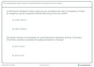 Fichas de ejercicios de razonamiento matemático para sexto primaria 3