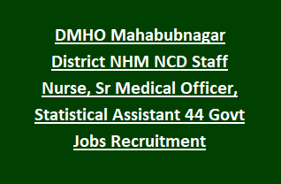 DMHO Mahabubnagar District NHM NCD Staff Nurse, Sr Medical Officer, Statistical Assistant 44 Govt Jobs Recruitment Notification 2018