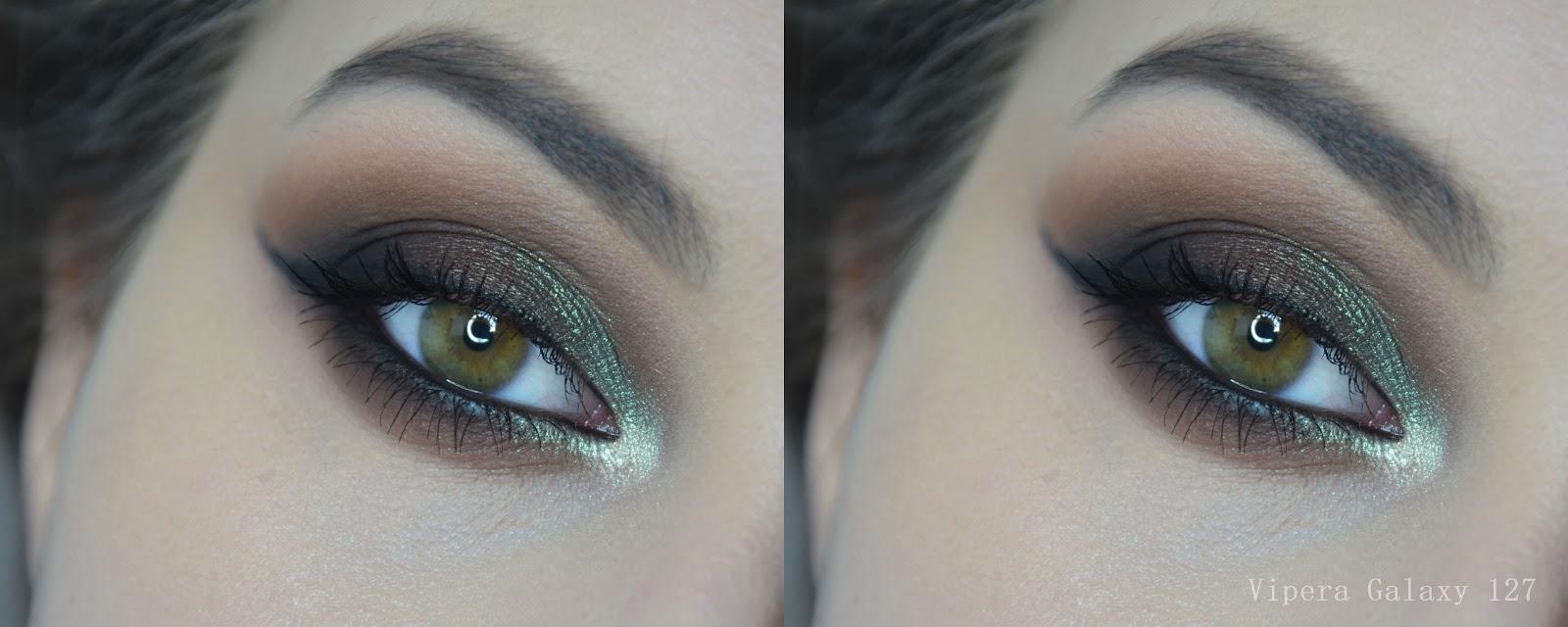 pigment vipera galaxy 127 swatch, makijaż, zieleń, zielony makijaż oczu