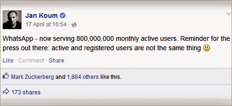 Jan Koum facebook post whatsapp 800 million