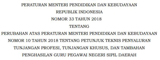 Permendikbud No.33 Tahun 2018