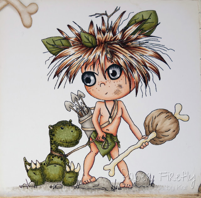 Boys caveman and dinosaur card with image/papers from Polka Doodles