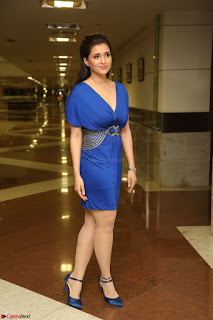 Mannara Chopra in Short Blue Dress at Rogue Movie Teaser Launch 1st March 2017 041.JPG