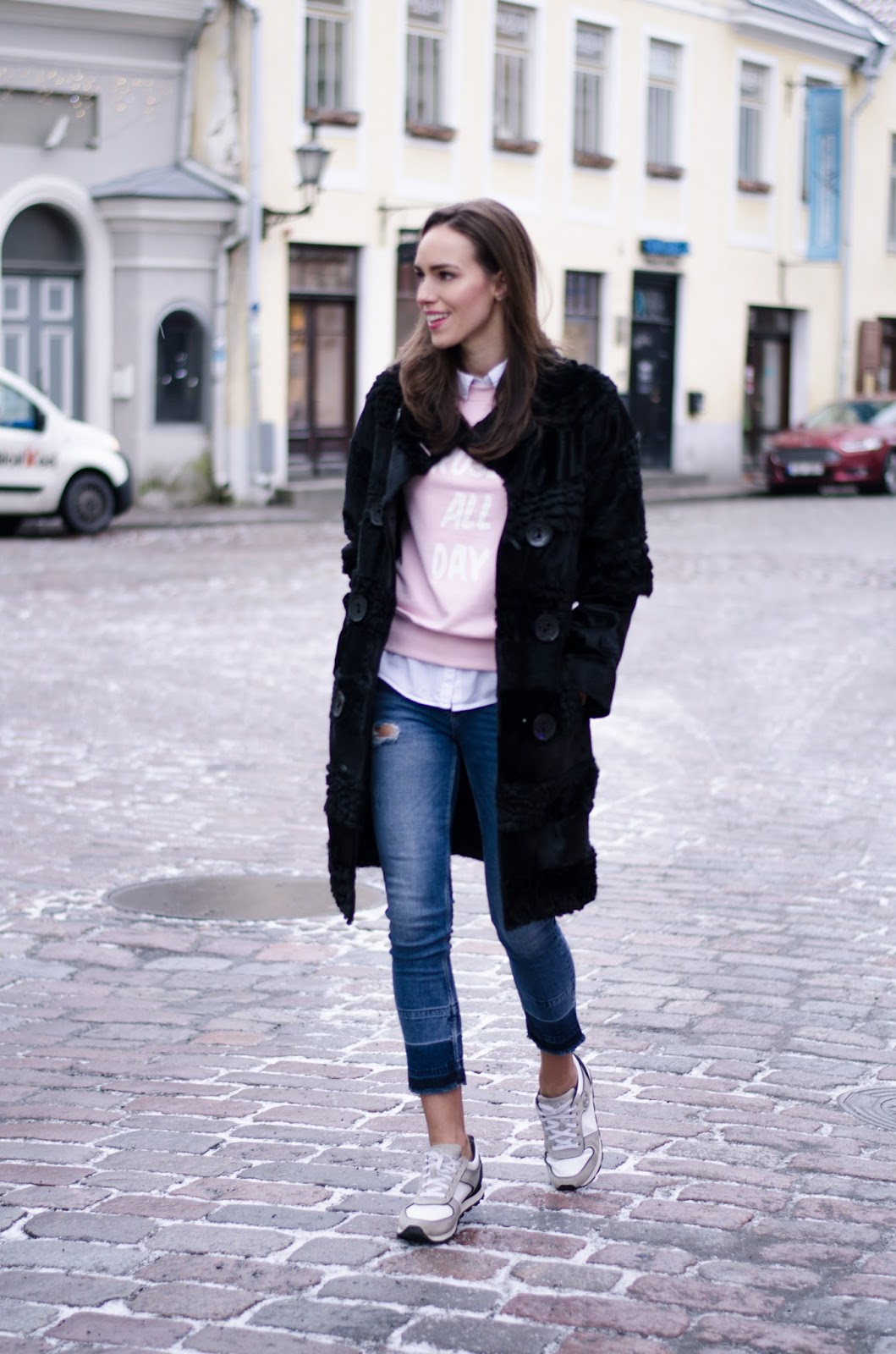 fur coat outfit street style