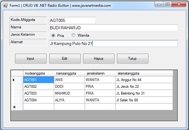 Cara Input Data Menggunakan Radio Button Pada VB .NET