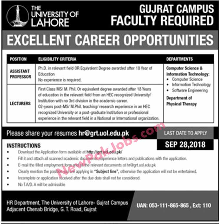 lecturers-vacancies-opened-in-uol,-university-of-lahore---gujrat-campus