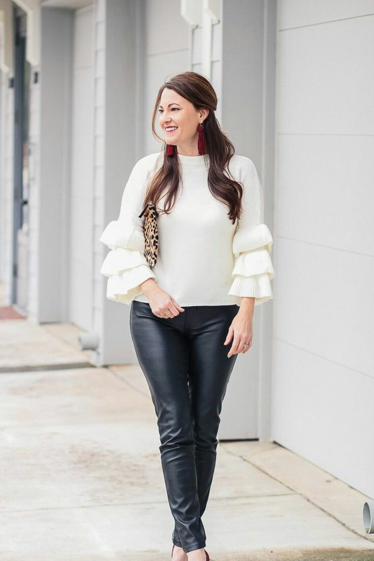 Ruffle sleeve white sweater