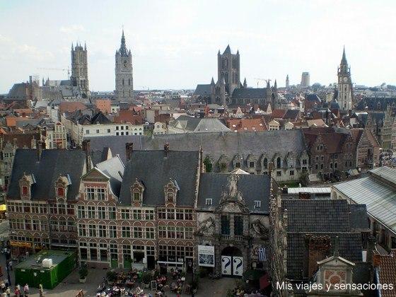 Vistas de Gante desde el castillo, castillo de los Condes