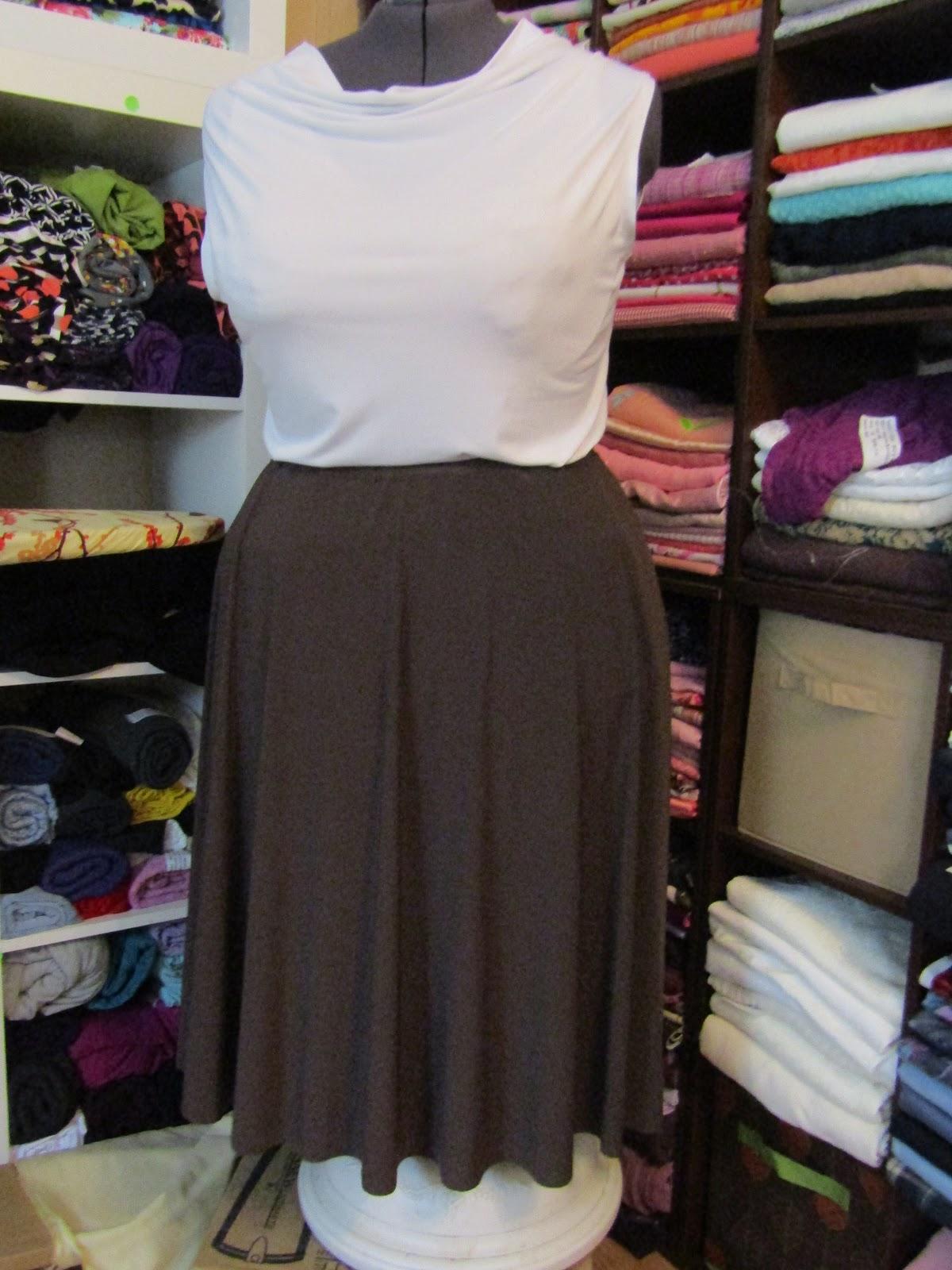 Sew Plus: Brown ITY Knit Circle Skirt