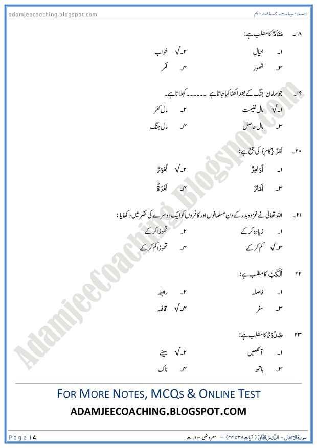 surah-al-anfal-ayat-38-to-44-mcqs-islamiat-10th