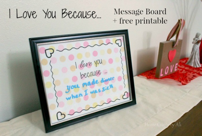 #9 creative post I love you because....message board and printable