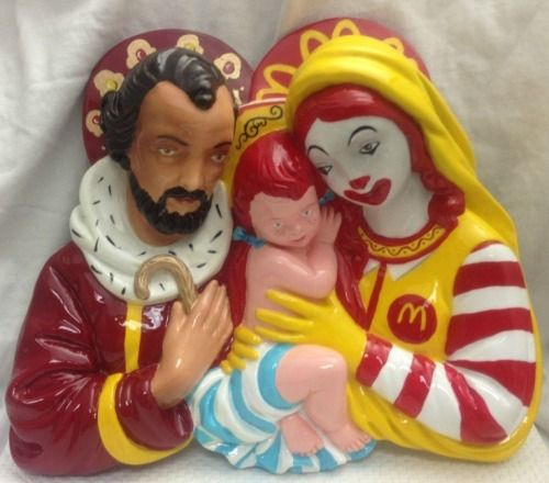 Funny McDonalds Jesus Holy Family Statue