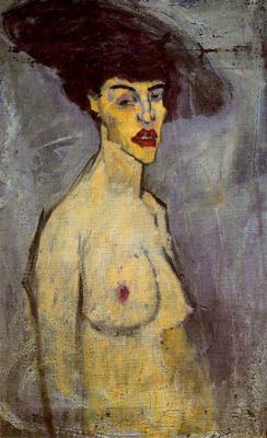 Pablo Picasso - Mujer desnuda y hombre fumando en