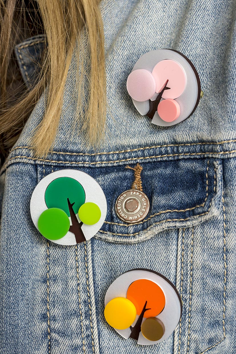 Blooming marvellous: Spring, Summer and Autumn seasonal brooches by I Am Acrylic looking splendid on a denim jacket