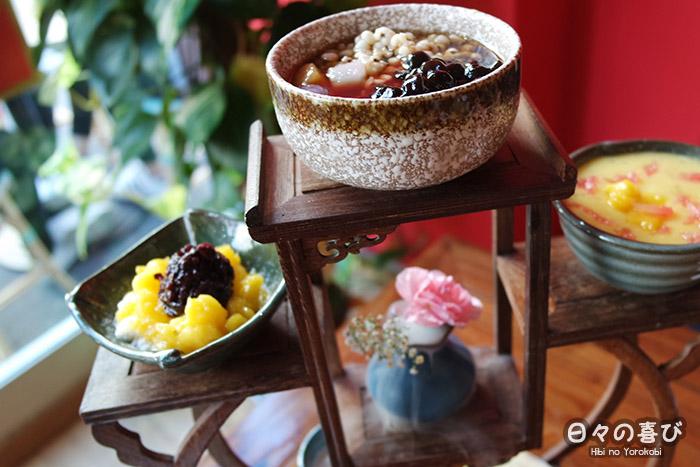 présentation assortiment de desserts