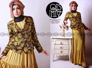 Model Long Dress Batik Kombinasi Blazer muslimah