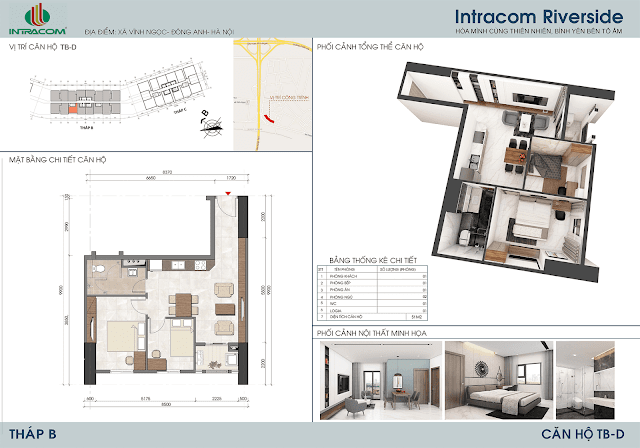 Thiết kế căn hộ 51m2 dự án Intracom Riverside Nhật Tân Đông Anh