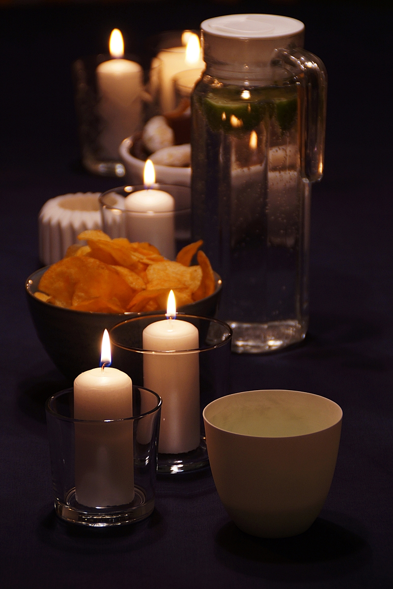 Winter Party Candles Dark Table Decoration
