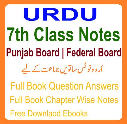7th URDU Notes Federal / Punjab Board - Easy MCQs