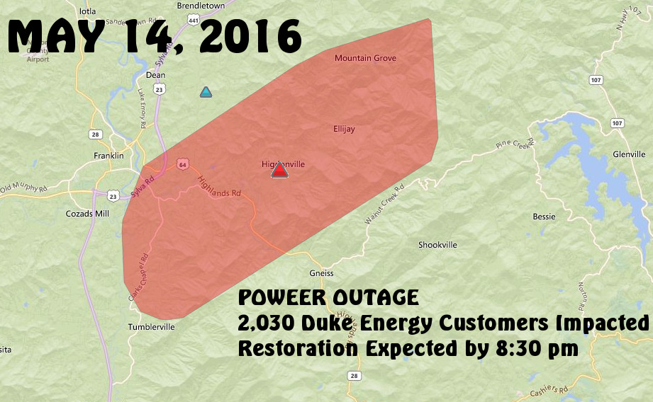 Map of Area Impacted by Outage