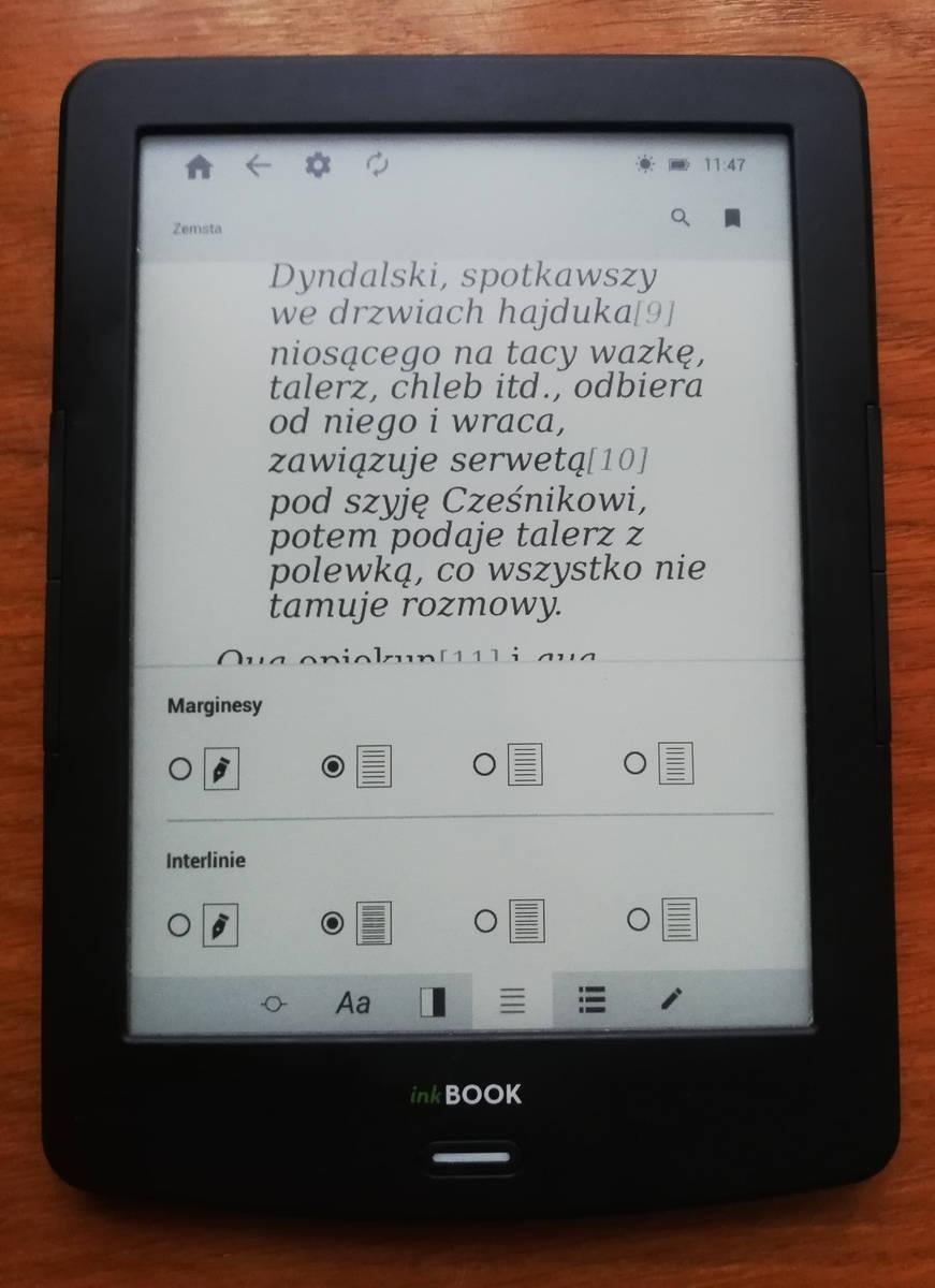InkBOOK LUMOS – ustawienia układu tekstu w aplikacji inkReader