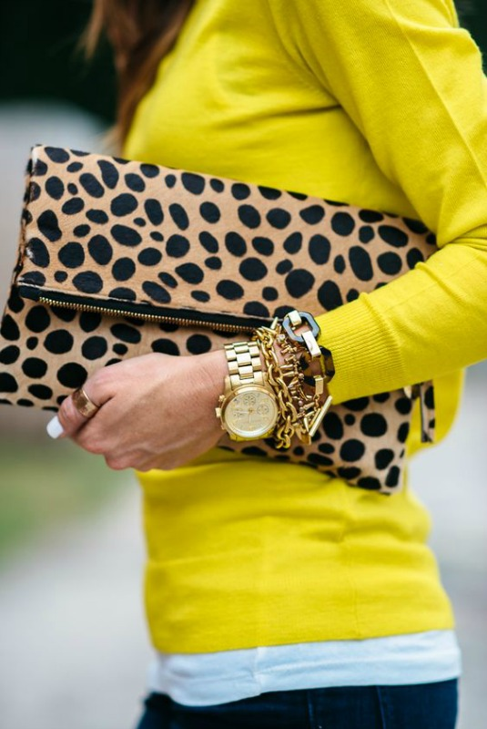 Perfect dupe for Clare V. Leopard Clutch - Ioanna's Notebook
