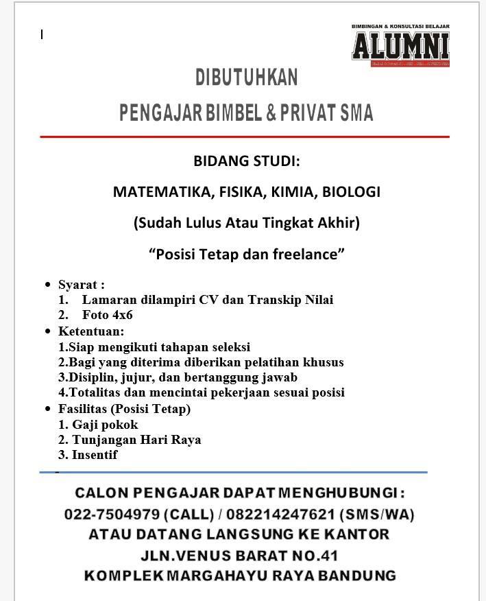 Lowongan Kerja Pengajar Freelance Bandung Lowongan Kerja Terbaru Indonesia 2021