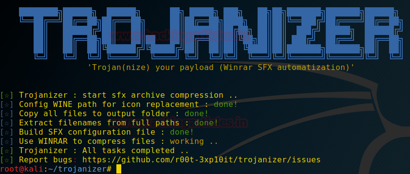 Bind Payload using SFX archive with Trojanizer