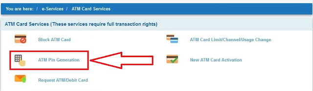 how to generate atm pin online sbi