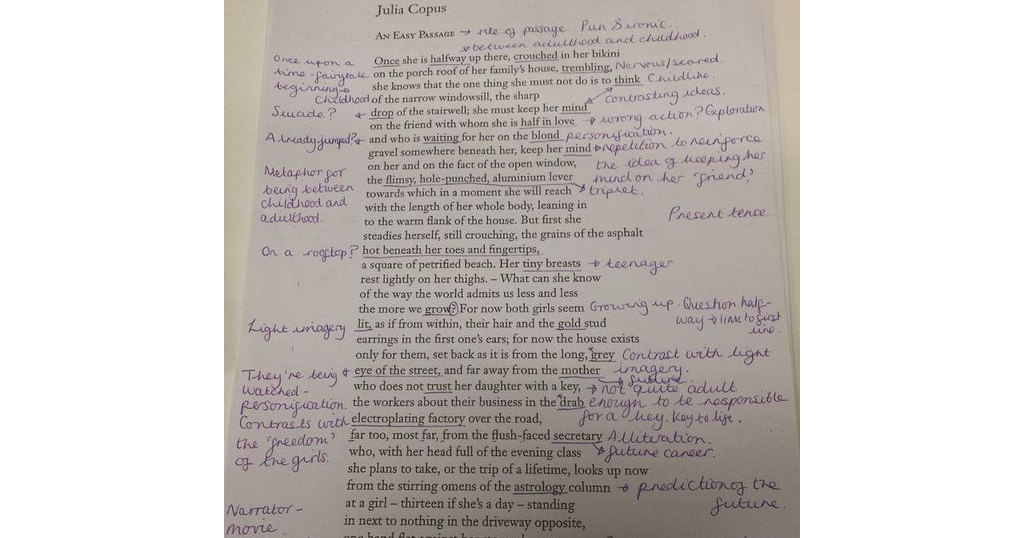 2015-17 A Level English: 'An Easy Passage' by Julia Copus