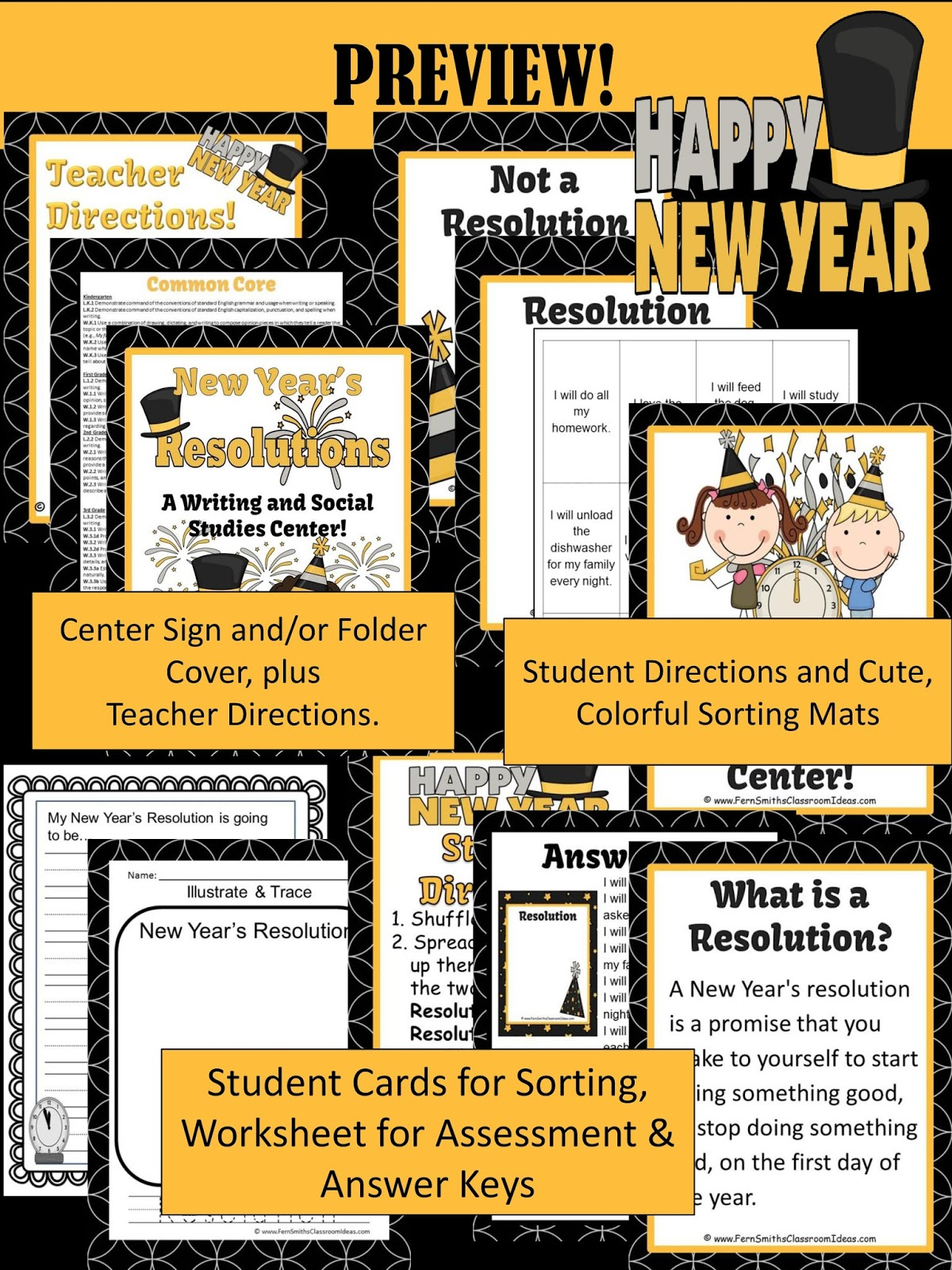 Fern Smith's Classroom Ideas New Year's Day Themed Resolution Writing and Social Studies Center