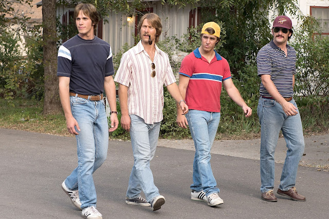 "Blake Jenner, Glen Powell, Temple Baker, and Tyler Hoechlin in Richard Linklater's ""Everybody Wants Some!!"""