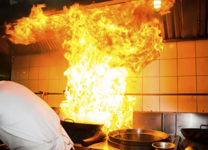 Photo of pan on fire in kitchen