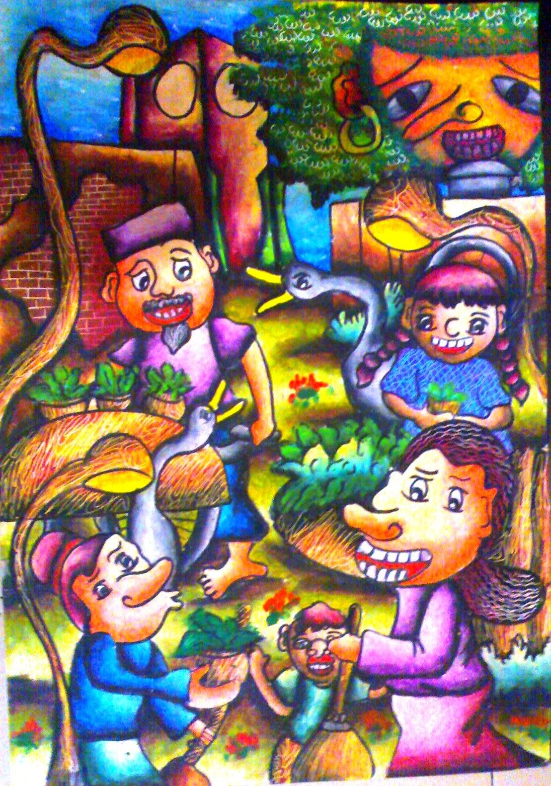Gambar Kerja Bakti Di Lingkungan Sekolah Kartun Orang Kerja Bakti Kartun