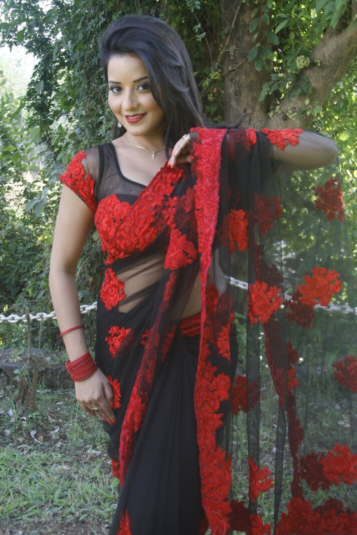 Monalisa red and Black Saree