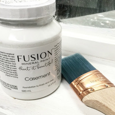 Fusion white paint and a brush