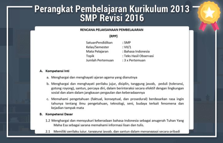 Perangkat Pembelajaran Kurikulum 2013 SMP Revisi Tahun 2016