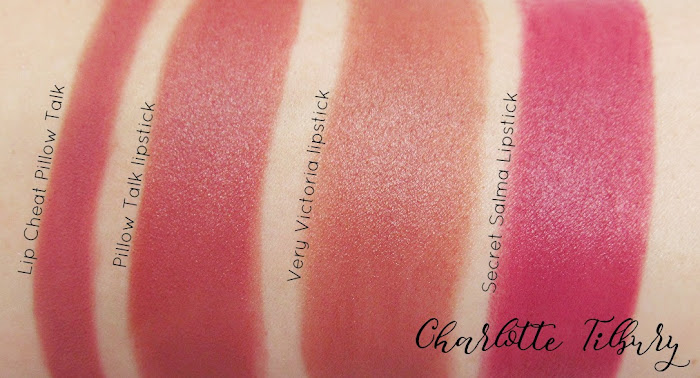 charlotte tilbury pillow talk comparison swatches