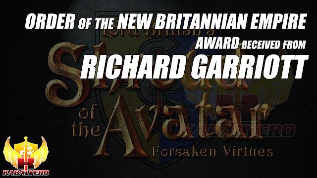 Order Of New Britannian Empire Award Received From Richard Garriott And Shroud Of The Avatar