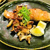 Sake to kinoko no mushiyaki, shoyu-aji / steam-sauteed salmon and mushrooms, soy sauce flavor