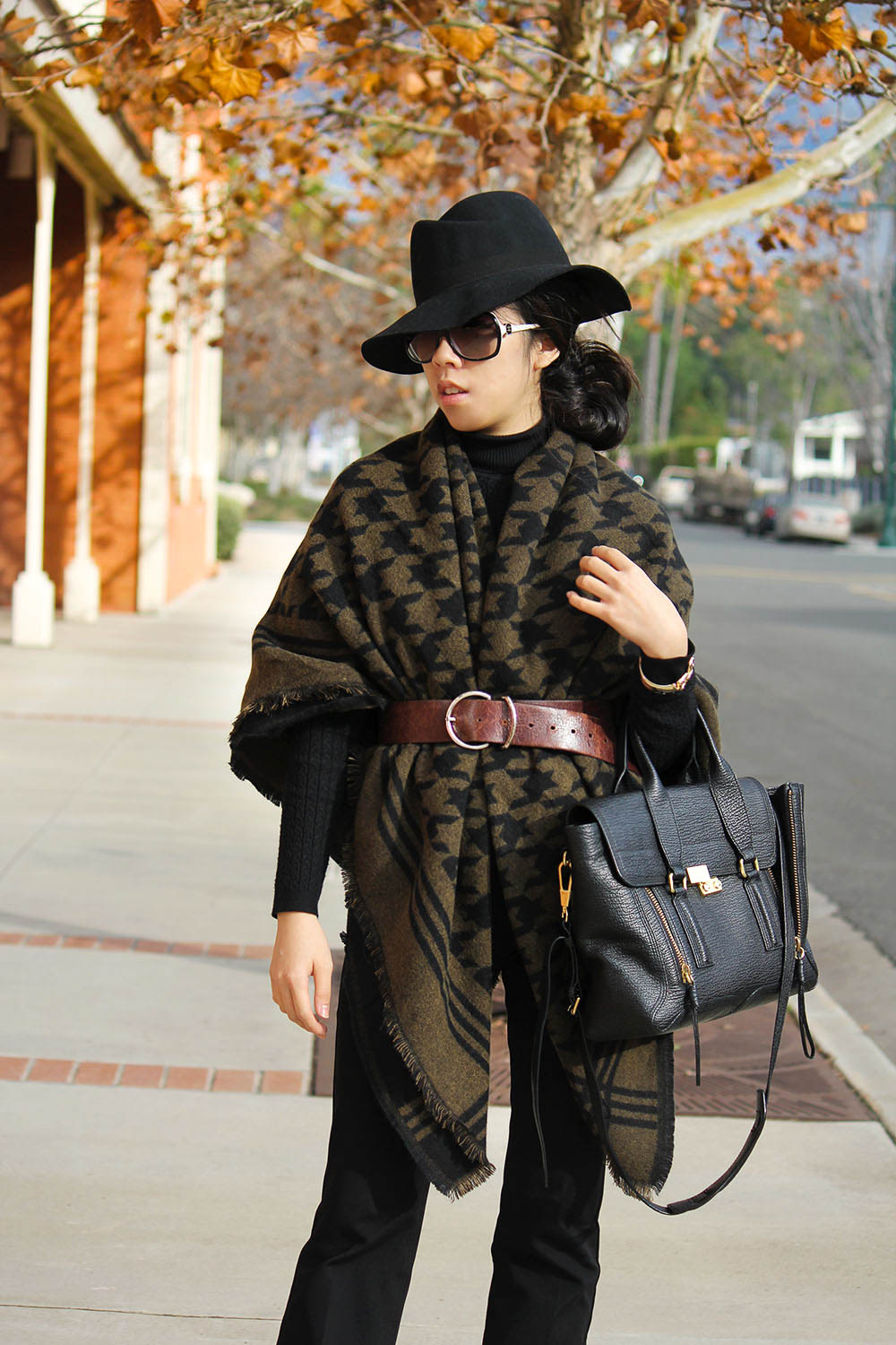 Adrienne Nguyen_Invictus_Houndstooth Oversized Scarf with Leather Belt and Fedora_Winter Layers_Flare Pants_How to wear a black turtleneck
