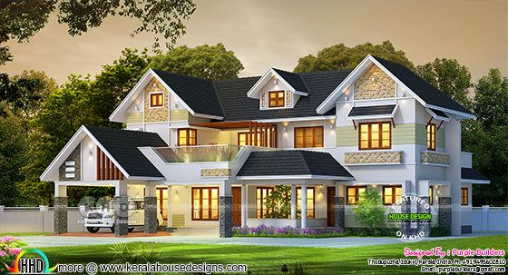 Beautiful 4 BHK sloping roof style house rendering